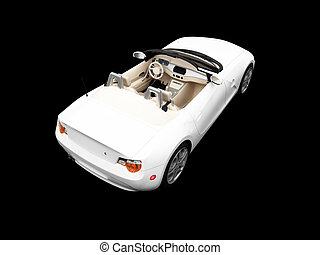 isolated white car back view 01 - isolated white cabriolet...