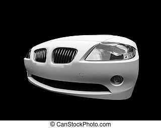 isolated white car front view 02 - isolated white cabriolet...