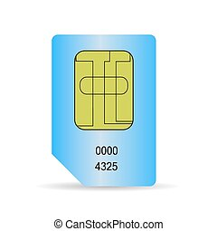 SIM Card - Blue SIM Card Isolated on White Background.