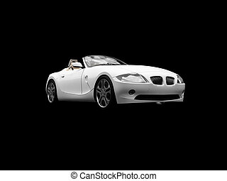 isolated white car front view 05 - isolated white cabriolet...