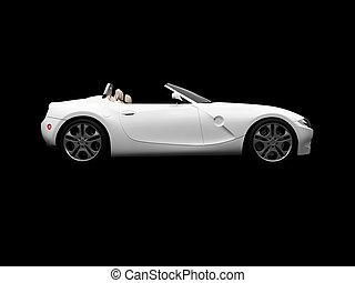 isolated white car side view - isolated white cabriolet on a...