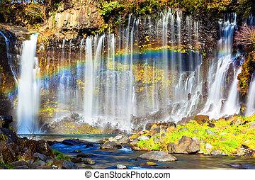 arco irirs, cascada,  shiraito