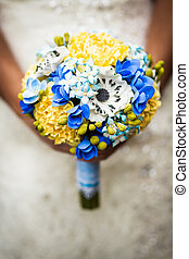 wedding bouquet in hands - Stylish Autumn wedding a...