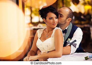 couple, stylish cafes - Stylish Autumn wedding a beautiful...
