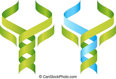 Tree DNA Icon - Tree DNA symbol, a DNA double helix growing...