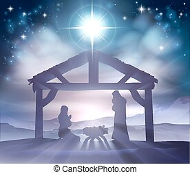 Nativity Christmas Scene - Traditional Christian Christmas...