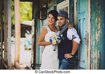 groom, wedding, hat - Stylish Autumn wedding a beautiful...
