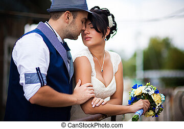 wedding, kiss, top view - Stylish Autumn wedding a beautiful...