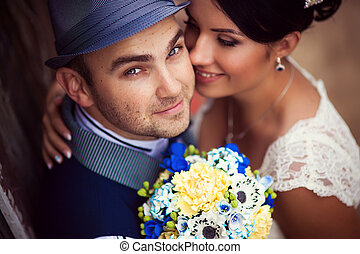 kiss, top view - Stylish Autumn wedding a beautiful bride...