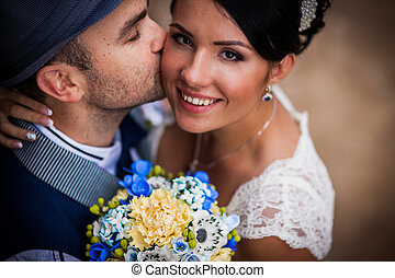 hat, wedding, kiss - Stylish Autumn wedding a beautiful...
