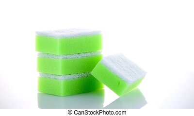 Kitchen sponges isolated over white background.