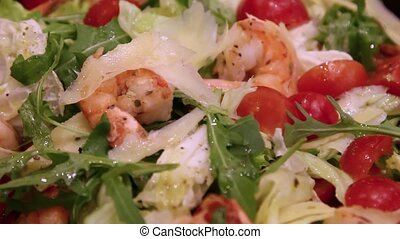 fresh salad of fried shrimp and vegetables - salad of fried...