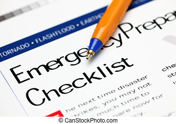 Emergency Checklist and ballpoint pen Close-up