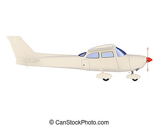aircraft skyline isolated view - isolated small airplane...