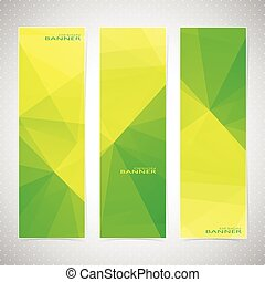 Vertical Polygonal Set of Banners in green and yellow Backgrounds. Modern Vector Illustration