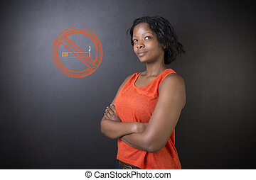 No smoking tobacco South African or African American woman...