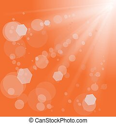 Sun Light Burst - Sun Lights on Orange Background. Orange...