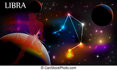 Libra Astrological Sign and copy space - Libra - Space Scene...
