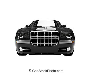 isolated black car front view 03 - black car on a white...