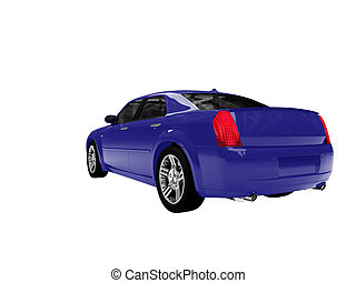 isolated blue car back view 01 - blue car on a white...