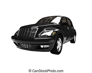 isolated black american car front view 06 - isolated black...