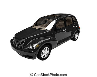 isolated black american car front view 05 - isolated black...