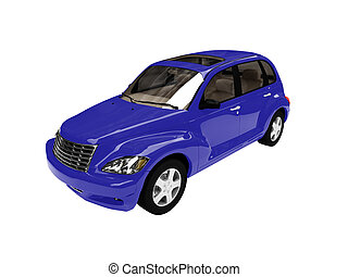 isolated blue american car front view - isolated american...