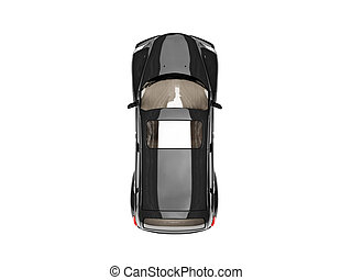 isolated black american car top view - isolated black...