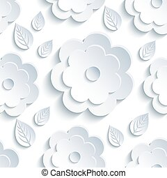 Background seamless pattern with grey flowers and leaves -...