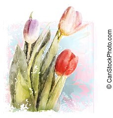 Bouquet of tulips. Watercolor illustration