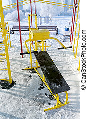 Fitness equipment outdoors in winter - A Fitness equipment...