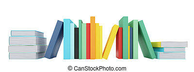 Colored books over white - isolated books over white...