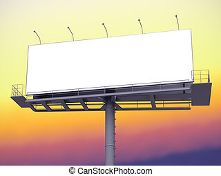 Billboard with empty screen on morning sky