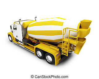 Concrete mixer isolated back view with clipping path -...
