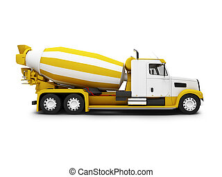 Concrete mixer isolated side view with clipping path -...
