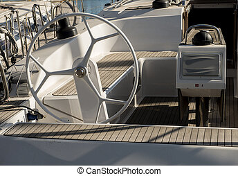 yacht steering wheel.