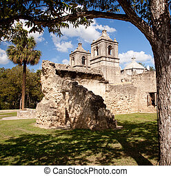 San Antonio Mission Concepcion in Texas - View of the ruined...