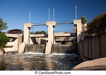 Dam on the river in San Antonio - Concrete construction...