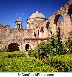 San Antonio Mission San Juan in Texas - View of the garden...