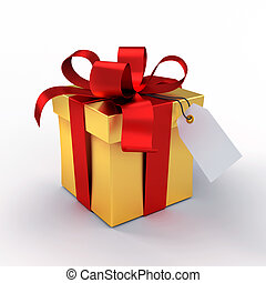 Gift box - Golden gift box tied up with red ribbons,...