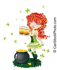 Leprechaun Girl with Beer - Pretty leprechaun girl with...