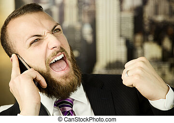 Business man on the phone feeling success - happy business...