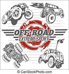 Vector emblem with off-road cars - Emblem with off-road cars...