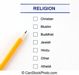 Religion questionnaire with pencil