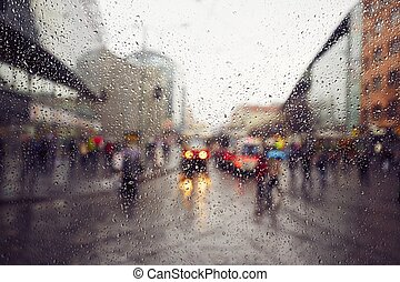 Rain in the city - Street in the heavy rain - Prague, Czech...