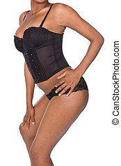 african lingerie - sexy african girl in black lingerie