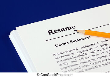Resume - Stack of resumes with pencil on a blue background.
