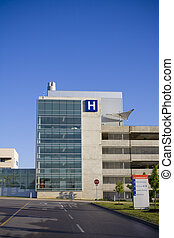Modern hospital and emergency sign shot during summer