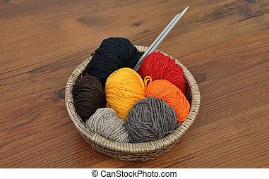 cesta, lã, Bolas