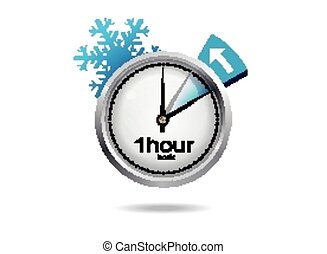 Clock switch to winter time Vector illustration with...